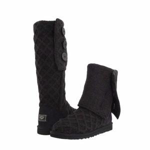 NWT UGG Lattice Cardy Knit Boot - Black